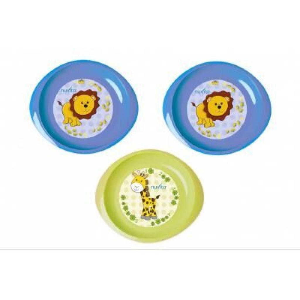 Набор детской посуды Nuvita тарелочки 6м+ 3шт. мелкие синие и салатовая (NV1428Blue)