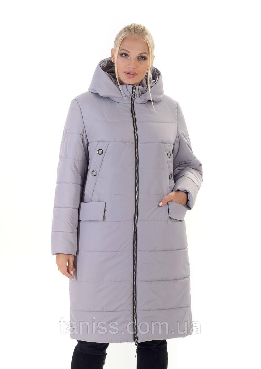 Зимний, женский пуховик большого размера, без меха, капюшон съемный. размеры 44,46,48,серый (133-1)