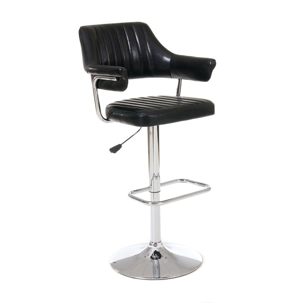 Fabian (Фабиан) барный стул кожзам чёрный глянцевый