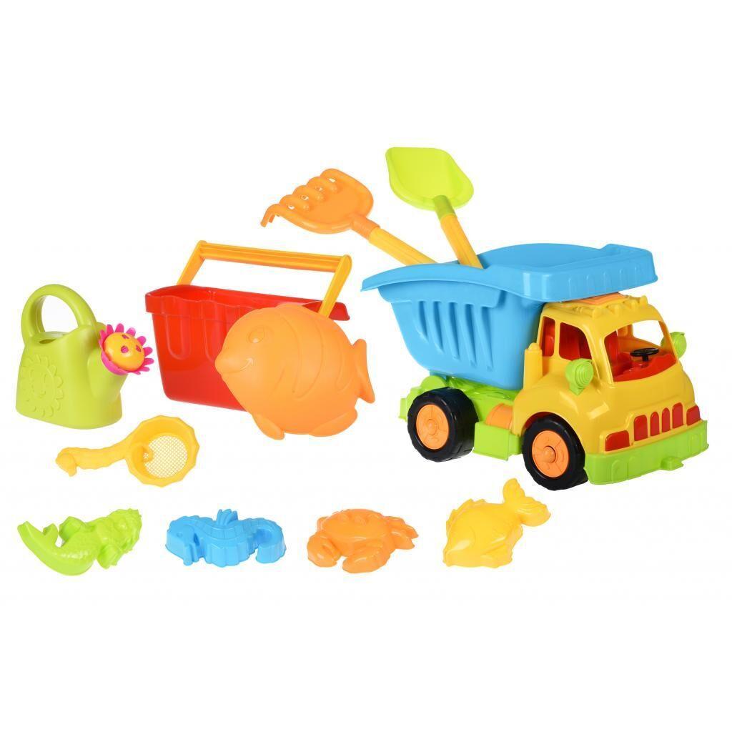 Игрушка для песка Same Toy 11ед Грузовик желтая кабина/синий кузов (968Ut-2), фото 1