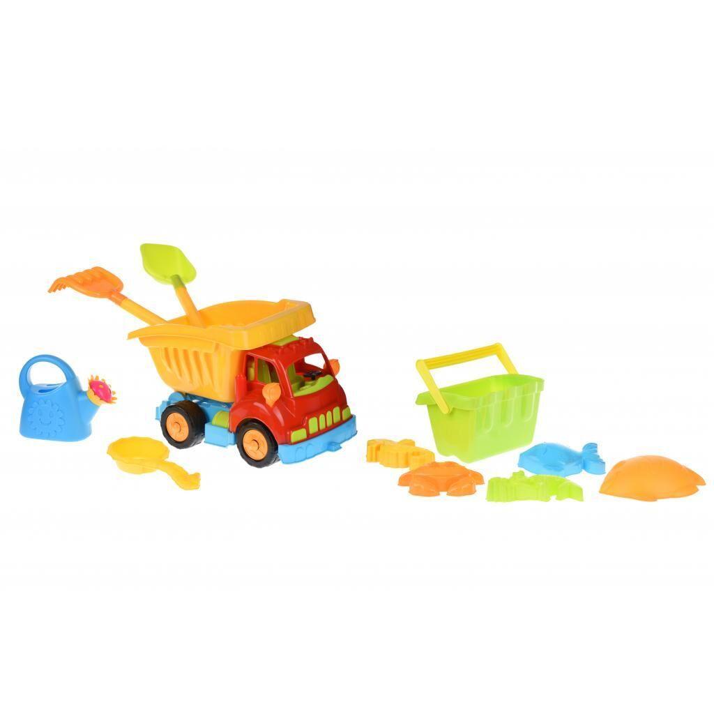 Игрушка для песка Same Toy 6 ед Грузовик красная кабина/желтый кузов (968Ut-1), фото 1