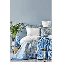Набор постельное белье с покрывалом + плед Karaca Home - Les Roses mavi 2019-2 голубой евро