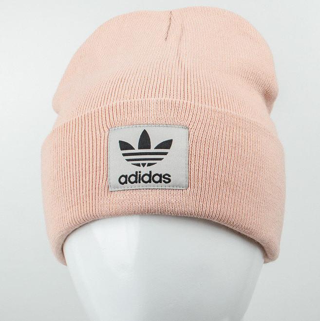 Молодежная шапка Рожки Adidas (реплика) пудра