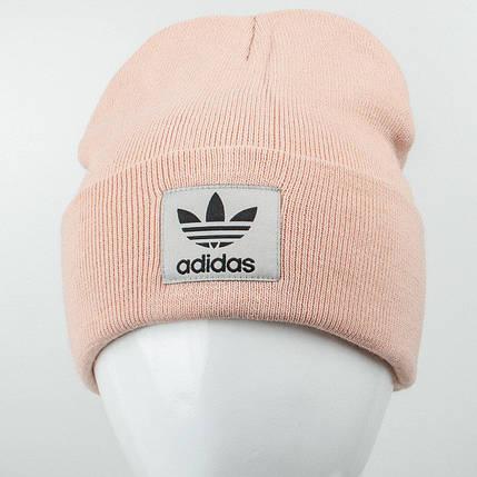 Молодежная шапка Рожки Adidas (реплика) пудра, фото 2
