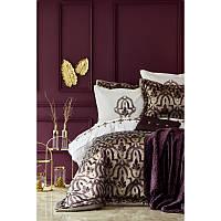 Набор постельное белье с покрывалом + плед Karaca Home - Morocco purple-gold 2019-2 золотой евро