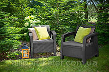 Набор садовой мебели Bahamas Duo Set Graphite ( графит ) из искусственного ротанга ( Allibert by Keter )
