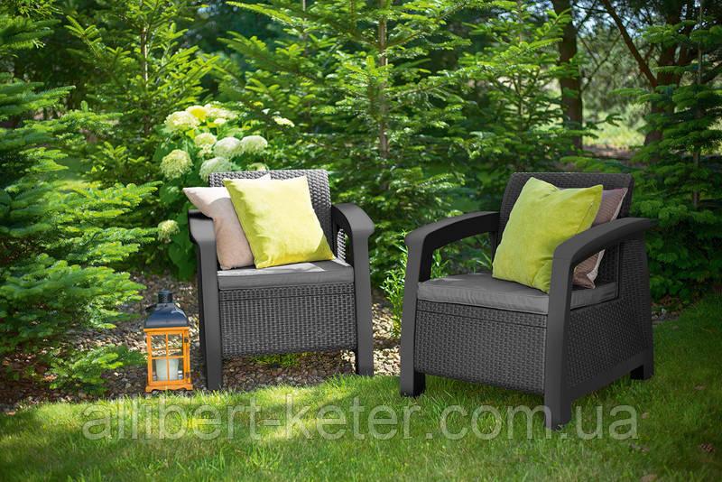 Набор садовой мебели Bahamas Duo Set Graphite ( графит ) из искусственного ротанга, фото 1