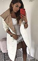Зимнее двустороннее женское пальто на синтепоне бежевое-белое