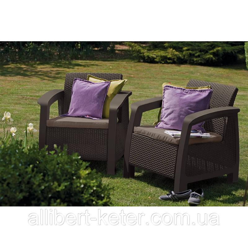 Набор садовой мебели Bahamas Duo Set Brown ( коричневый ) из искусственного ротанга