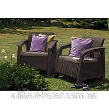 Набор садовой мебели Bahamas Duo Set Brown ( коричневый ) из искусственного ротанга ( Allibert by Keter )