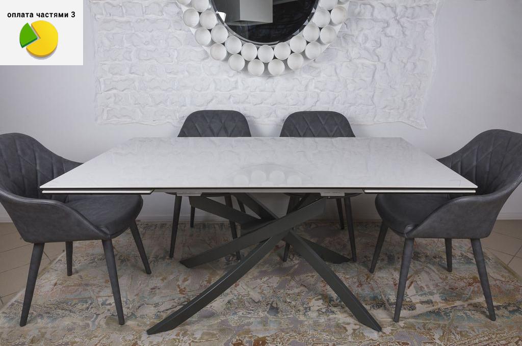 Lincoln (Линкольн) стол раскладной 160-240 см керамика белый глянец
