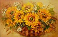 Картины художников. Живопись маслом на холсте Подсолнухи картина маслом цветы
