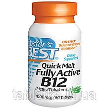Doctor's Best, Полностью активный витамин B12 в жевательной форме, шоколад-мята, 1000 мкг, 60 таблеток