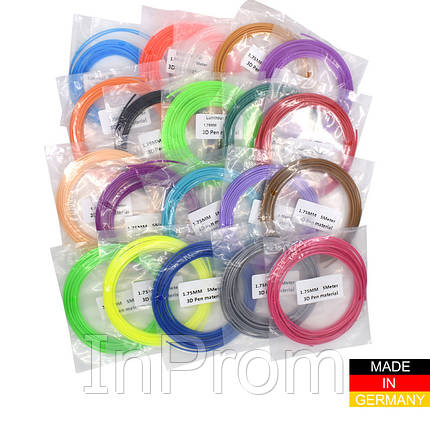 Набор пластика PLA+ для 3D ручек 280 метров (14 цветов по 20 метров), фото 2