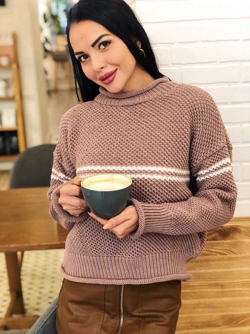 Теплый женский вязаный свитер с шерстью и полоской 404608