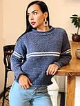 Теплый женский вязаный свитер с шерстью и полоской 404608, фото 2
