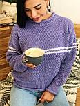 Теплый женский вязаный свитер с шерстью и полоской 404608, фото 3