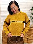 Теплый женский вязаный свитер с шерстью и полоской 404608, фото 4