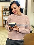 Теплый женский вязаный свитер с шерстью и полоской 404608, фото 5