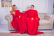 Плед для двоих с рукавами из микрофибры (красный), фото 4