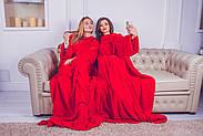 Плед для двоих с рукавами из микрофибры (красный), фото 5