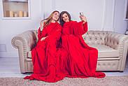Плед для двоих с рукавами из микрофибры (красный), фото 6