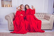 Плед для двоих с рукавами из микрофибры (красный), фото 7