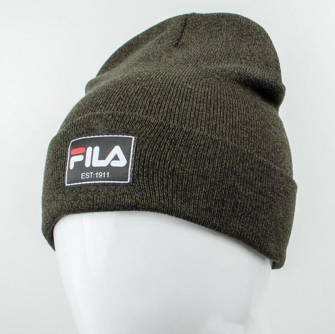 Молодежная шапка Рожки Fila (реплика) темный хаки