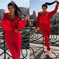 Женский утепленный спортивный костюм на флисе с удлиненной кофтой на молнии 5605747