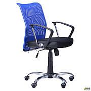 Крісло АЕРО LB сидіння Сітка чорна Неаполь N-20/спинка Сітка синя