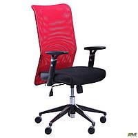 Кресло Аэро Люкс сиденье Сетка черная, Неаполь N-20/спинка Сетка красная , фото 1