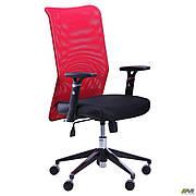 Крісло Аеро Люкс сидіння Сітка чорна, Неаполь N-20/спинка Сітка червона