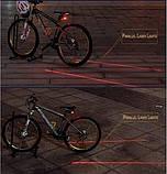 Лазерный светодиодный задний фонарик безопасности для велосипеда с 7-ю режимами, фото 9