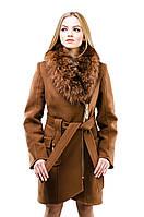 Пальто на молнии зимнее женское коньяк. Размеры: 42-52
