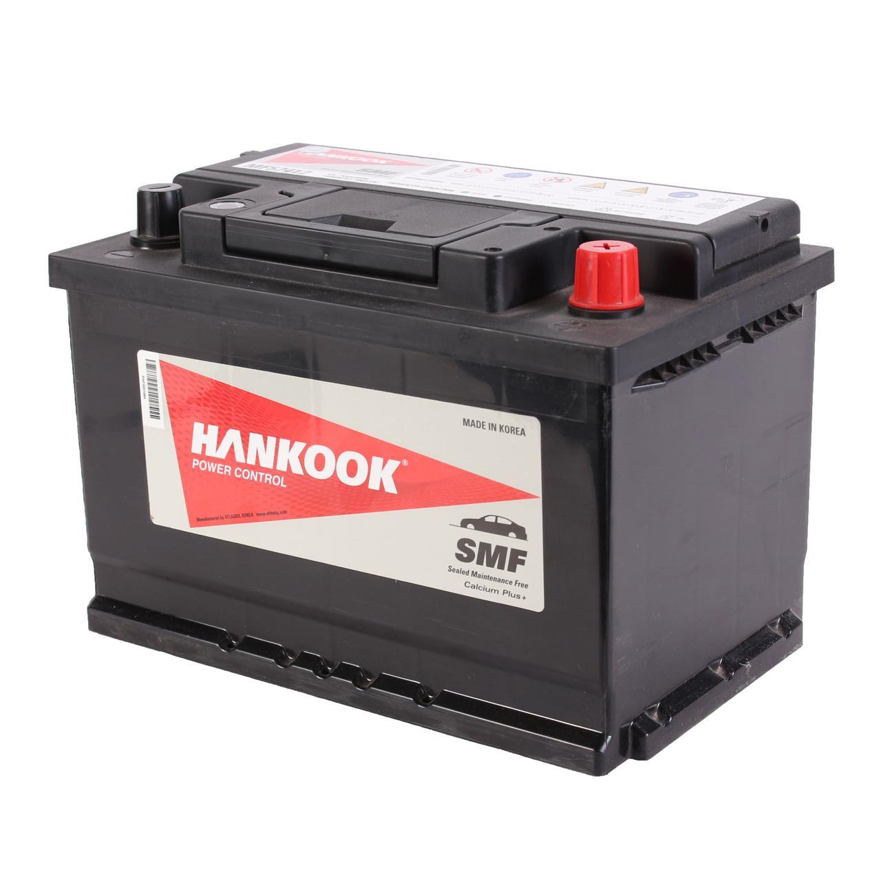Аккумулятор автомобильный HANKOOK SMF 6CT 74Ah, пусковой ток 680А [–|+] (MF57412)