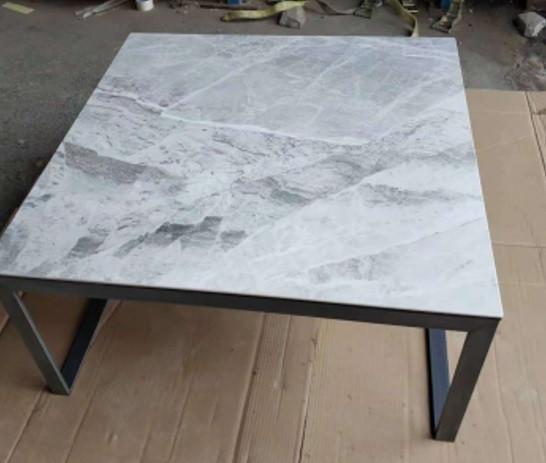 Стол журнальный BRIGHTON S (89.5*89.5*45см) керамика светло-серый глянец