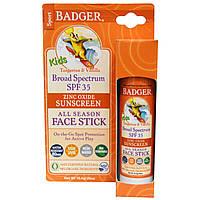 Badger Company, Дети оксид цинка Солнцезащитный All Season Face Палка, SPF 35, мандарин и ваниль, .65 унции (18,4 г)