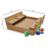 Детская песочница для улицы и дачи деревянная с лавочкой, бортиками и крышкой 145х145х30 см