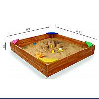 Детская песочница для улицы и дачи деревянная с лавочкой, крышкой и бортиками 145х145х30 см