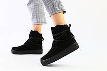 Женские черные угги со шнуровкой, 39