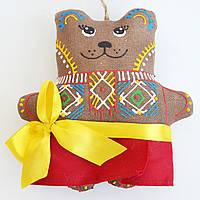 Кофейная медведица в праздничной сорочке. Украинский сувенир.