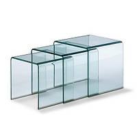 Стол журнальный ВУЛКАНО, стеклянный, комплект из 3 столов