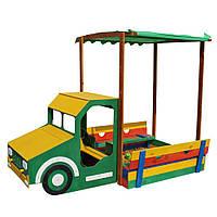 Детская песочница грузовик для улицы и дачи деревянная с лавочкой, навесом и крышкой цветная 260х145х180 см