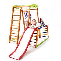 Спортивный детский уголок-комплекс трансформер для дома, квартиры, комнаты (шведская стенка, горка, кольца)