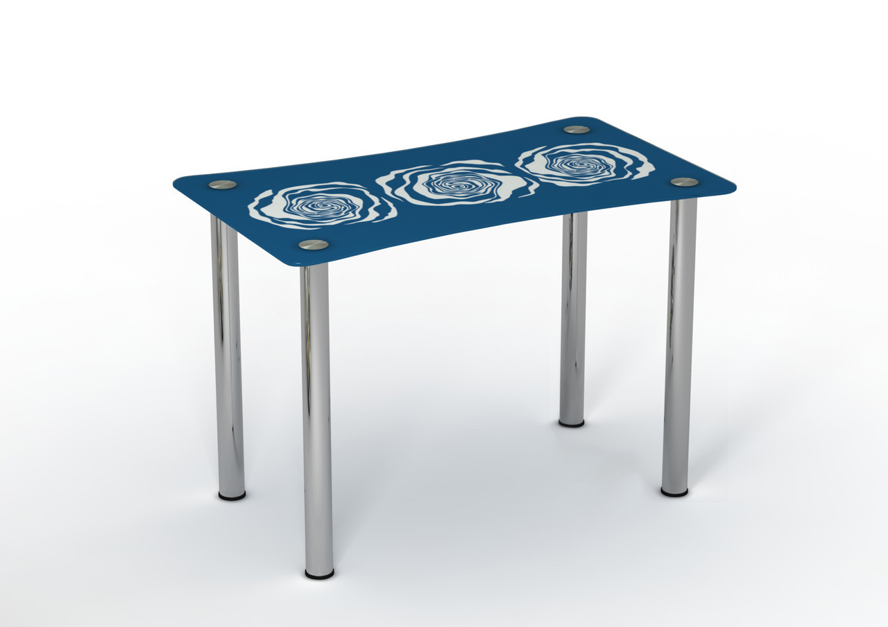 Стеклянный стол Океан синий/белый рисунок