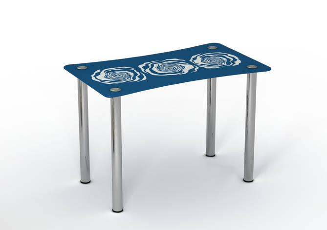 Стеклянный стол Океан синий/белый рисунок, фото 2