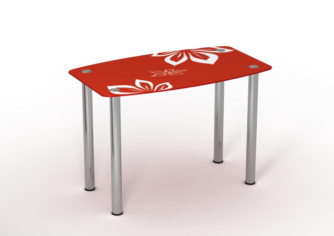 Стеклянный стол Фламенко Красный/Белый рисунок