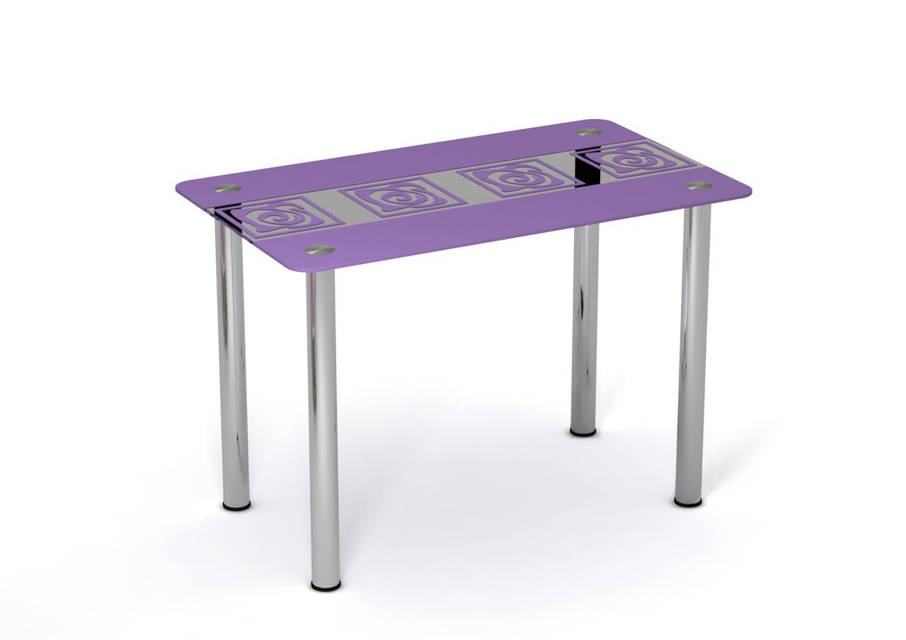 Стеклянный стол Виолетта Сиреневый рисунок