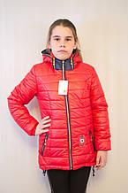 Красивая модная дешевая демисезонная куртка с капюшоном, красная, р.134,140,146.