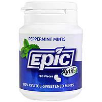 Epic Dental, Подслащено 100% ксилитом, мятные конфеты с перечной мятой, 180 штук